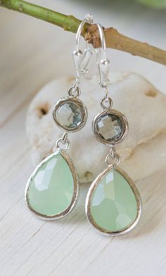Mint Teardrop and Charcoal Jewel Drop Earrings.    They have a delicate,lovely look.