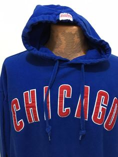 Chicago Cubs Baseball MLB Stitches Blue Hoodie Sweatshirt Mens 2XL Sewn-On Logos #Stitches #ChicagoCubs
