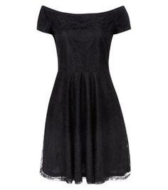 black lace Bardot neck skater dress