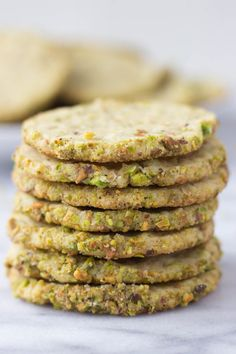 Pistachio Butter Cookies - a heavenly mix between a shortbread and sugar cookie, they're slightly crisp yet soft and absolutely melt in your mouth! Pistachio Butter, Pistachio Recipes, Pistachio Cookies, Pistachio Dessert, Ricotta Cookies, Almond Cookies, Chocolate Cookies, Tea Cakes, Pistacia Vera