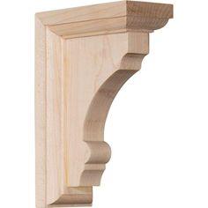 Ekena Millwork BKT03X05X07HARW-CASE-4 Hamilton Traditional Bracket Rubberwood Ready to be Stained