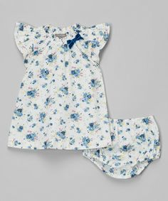Look at this Angel Blue Floral Sleeve Dress & Diaper Cover - Infant & Toddler on #zulily today!