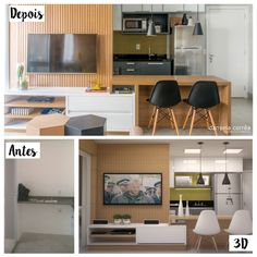 Navegue por fotos de Cozinhas modernas: Antes e Depois – Cozinha Integrada com Sala de Estar. Veja fotos com as melhores ideias e inspirações para criar uma casa perfeita.