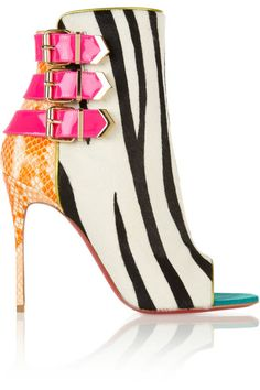 Covered heel measures approximately 100mm/ 4 inches Black and white zebra-print calf hair Tangerine, pale-orange and white python at heel, hot-pink patent-leather buckled straps, metallic-chartreuse leather trims, peep toe, signature red leather sole Zip fastening at side Come with replacement heel tips Python: Indonesia