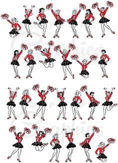 Retro cheerleaders alphabet