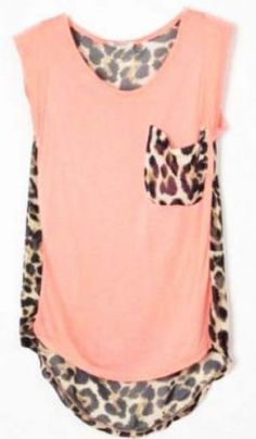 Leopard Patchwork High-low Sleeveless Pink Blouse pictures