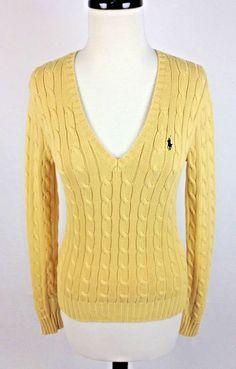 RALPH LAUREN Sweater S Yellow Cotton Long Sleeve Cable Knit Womens #RalphLauren #VNeck