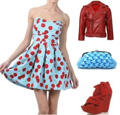 Now listed!  BACK IN STOCK!  Aqua Strapless Pinup Dress with Cherry Print, find here: http://stores.ebay.com/The-Stylish-Boutique/_i.html?_nkw=cherry+strapless&submit=Search&_sid=544253133