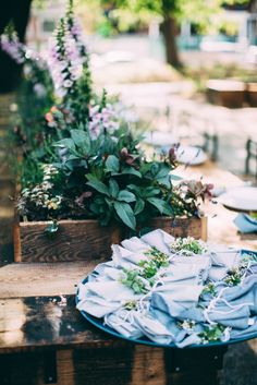 I think it's just the color of the leaves mixed with the wood, I just felt like I needed to pin it - Event Gallery: L'Esprit de la Mer Botanical Wedding, Floral Wedding, Wedding Flowers, Wedding Locations, Wedding Events, Garden Wedding, Wedding Table, Indigo Wedding, Banquet Tables