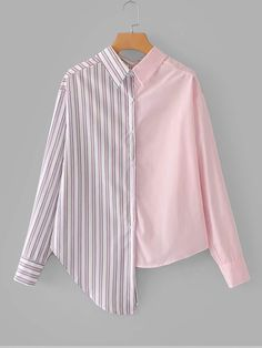 Casual Striped and Colorblock Shirt Regular Fit Collar Long Sleeve Placket Multicolor Contrast Stripe Asymmetric Hem Shirt Girls Fashion Clothes, Teen Fashion Outfits, Hijab Fashion, Fashion Dresses, Ladies Fashion Tops, Fashion Blouses, Casual Outfits, Diy Moda, Only Shirt