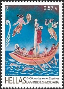 Odysseus and The Sirens (Greek Mythology). Hellas 2009 Odysseus and The Sirens (Greek Mythology). Sirens Greek Mythology, Odysseus And The Sirens, Greece Pictures, Stamp Printing, Love Stamps, Greek Art, Vintage Stamps, Love Painting, Stamp Collecting