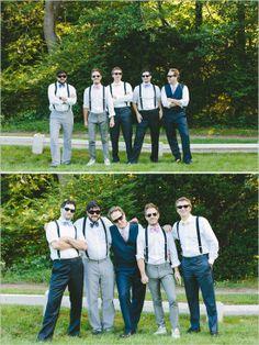 bow tie and suspender groomsman looks http://www.weddingchicks.com/2013/10/22/colorful-cape-cod-wedding/
