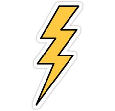 """""""Lightning bolt - yellow with black outlines"""" Stickers by Mhea Stickers Cool, Red Bubble Stickers, Tumblr Stickers, Phone Stickers, Printable Stickers, Wallpaper Stickers, Planner Stickers, Macbook Stickers, Homemade Stickers"""