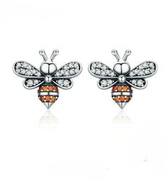 Cheapest BAMOER High Quality 925 Sterling Silver Bee Story Clear CZ Exquisite Stud Earrings for Women Fashion Silver Jewelry Sterling Silver Earrings Studs, Silver Necklaces, Silver Jewelry, 925 Silver, Silver Rings, Earring Studs, Gemstone Jewelry, Bee Jewelry, Jewelry Gifts