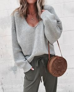 Shop & Buy Casual Knitted Sweater Women Streetwear V Neck Long Sleeve Pullovers Loose Solid Coat Autumn Winter Fashion Women's Sweater Online from Aalamey Look Fashion, Fashion Outfits, Womens Fashion, Fashion Tips, Feminine Fashion, Fashion Ideas, Fall Fashion, Ladies Fashion, Fashion Trends
