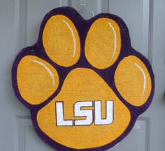 LSU Tiger Paw burlap door and wall hanger by AllUniqueThings