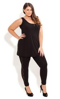 City Chic - LACE PANEL LEGGING - Women's plus size fashion