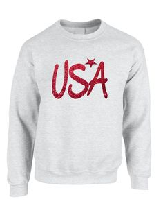 Adult Sweatshirt USA Red Glitter Love America 4th Of July Top  #sweatshirt #usa #longsleeve #july4th #american