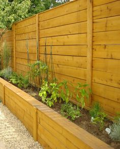 Fence with  Planter Box.... Use for backyard were our dogs and neighbor dogs bark at each other Privacy Fence Landscaping, Pool Fence, Fence Garden, Diy Fence, Front Yard Fence, Backyard Privacy, Backyard Fences, Back Yard Privacy Ideas, Privacy Wall Outdoor