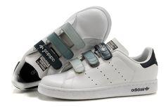 Adidas Stan Smith GS - Chaussure Adidar Pas Cher Pour Femme/Enfant Blanc/Noir/Gris