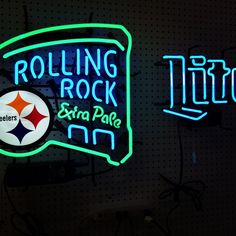 #pittsburghsteelers #neon #mancave #beersigns #rollingrock #millertime #millerlite #crownantiquemall