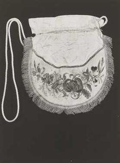1820-1830, Täschchen aus Samt und Seide, bestickt mit Silberfäden, Niederlande