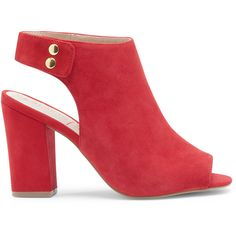Sole Society Easton Peep Toe Block Heel (61 CAD) ❤ liked on Polyvore featuring shoes, pumps, red, open-toe pumps, peep-toe pumps, red peep toe pumps, peep toe slingback pumps y red suede pumps