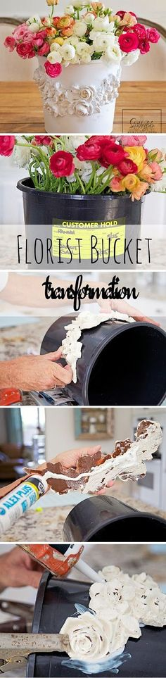 Creative DIY Flower Pot Idea To Copy , Florist Bucket Transformation.Trash To Treasure Rescue. Plastic Flowers, Diy Flowers, Flower Pots, Fall Flowers, Fabric Flowers, Decoupage, Craft Projects, Projects To Try, Fleurs Diy