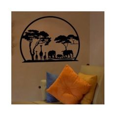 """Style and Apply African Panorama Wall Decal Size: 46"""" H x 59"""" W, Color: Black"""