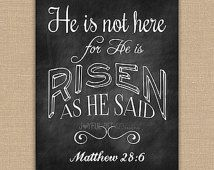 He is Risen Easter PRINTABLE. He is Not Here Matthew 28:6 Scripture ...