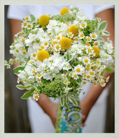 Spring wedding bouquet made of white stock, daisies, craspedia and queens anne's lace