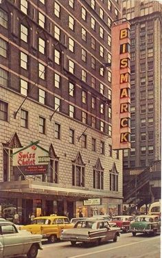 The Bismarck and Swiss Chalet on Randolph, 1968 (Chicago Pin of the Day, 3/6/2016).