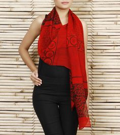 Red Silk Chiffon #Scarf #Indianroots