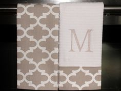 Monogram Kitchen Towels or Hand Towels in Ecru / Greige Quatrefoil