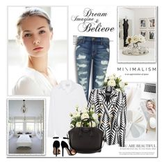 """""""Dream, Imagine & Believe!!"""" by lilly-2711 ❤ liked on Polyvore featuring Current/Elliott, Balmain, Givenchy, balmain, whiteblouse and rippeddenim"""