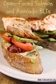 Open-Faced Salmon and Avocado BLTs