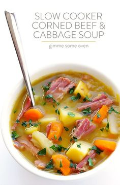 This Slow Cooker Corned Beef and Cabbage Soup only takes 15 minutes to prep, and…