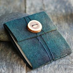 Felt Journal - Leather Wrap Cord - Upcycled Earthy Green Plaid Wool with Handmade Wood Button