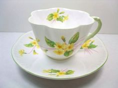 Vintage Shelley Tea Cup & Saucer, Shelley Dainty Primrose Tea Cup Set, Shelley Yellow Primrose Teacup and Saucer, Shelley Yellow China Tea Cup Set, My Cup Of Tea, Tea Cup Saucer, Tea Sets, Vintage Cups, Vintage Tea, Teapots And Cups, Teacups, Yellow Tea Cups