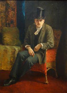 Josef Engelhart,  Autoportrait en haut-de-forme, 1892. Huile sur bois. Bevédère,