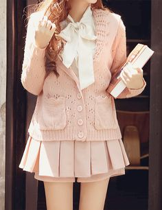 Pale pink [looks like asian school girl outfit but it looks casual to wear around the streets]