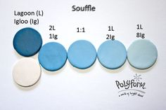 Souffle Lagoon & Igloo polymer clay color recipe by Syndee Holt for Polyform ~ Polymer Clay Color Mix Polymer Clay Recipe, Polymer Clay Tools, Sculpey Clay, Polymer Clay Canes, Polymer Clay Projects, Polymer Clay Creations, Handmade Polymer Clay, Diy Clay Earrings, Polymer Clay Necklace
