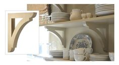 Wonderful & elegant new kitchen with open wood shelving.  Brackets from House of Antique Hardware: http://www.houseofantiquehardware.com/corbels-and-brackets-large-pine-shelf-or-porch?sc=13=208210.  Image pinned from http://nineandsixteen.blogspot.sg/2012/11/pictures-of-our-kitchen.html