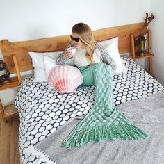 Stay cozy Mermaids  (and be sure to enter the biggest giveaway evvvver! Link in bio) #mermaidtailblanket #cozyhome #inbed #teatime