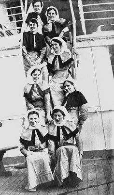 Group of Australian AANS and QAIMNS nursing sisters on board the hospital ship: SS Assaye returning to Egypt from England, November 1915. B 57607 ~