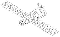 Mir base block drawing - Mir (Raumstation) – Wikipedia