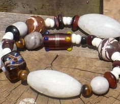 "Chunky Brown Gemstone Necklace // Catseye Beads // Toggle Clasp // ""Mountain Snow"" // SRAJD #handmade #etsyretwt"