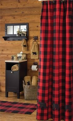 New Rustic Hunting Camp Lodge Cabin Buffalo Red BLACK BEAR Fabric Shower Curtain #VHC #Country