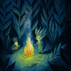 Thistle and Yewberry huddle by the fire   #campfire #childrensillustration #wip #kidlitart #kidlit #fairytale #picturebook