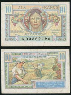 No Date Tresor Francais 10 Francs 1947 Post World War II Military Issue Pick Number Very Fine Currency Military Post, Military Issue, Military Weapons, Money Notes, France, Native Indian, Coin Collecting, Female Images, World War Ii
